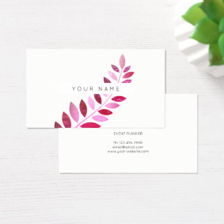 Leaf Laurel Fern Botanic Pink Rose White Business Card