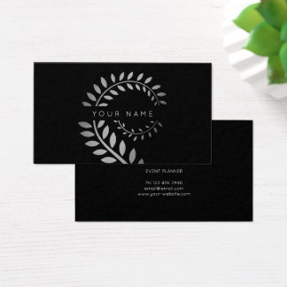 Leaf Laurel Fern Botanic Silver Serpentine Black Business Card
