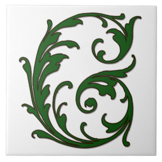 Leaf Letter G in Green Monogram Tile