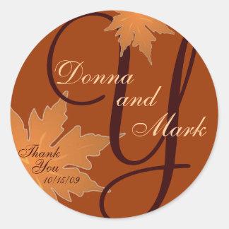 Leaf Monogram Sticker for Invitation