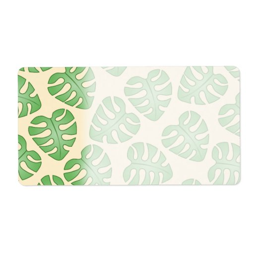 Leaf Pattern, Monstera Leaves on Cream Color. Custom Shipping Label
