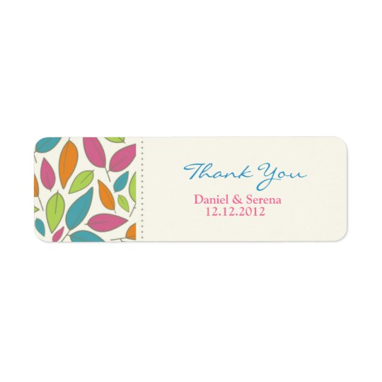 Leaf Pattern Wedding Thank You Gift Tag Label