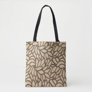 Leaf Print on Tan with Black Tote Bag