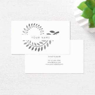 Leaf Spirale Botanic Silver Gray White Business Card