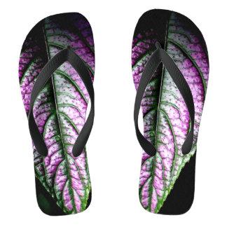 Leaf Texture Photograph on Flip flops