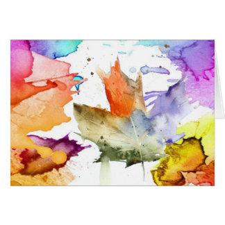 Leaf watercolor blank note card. card