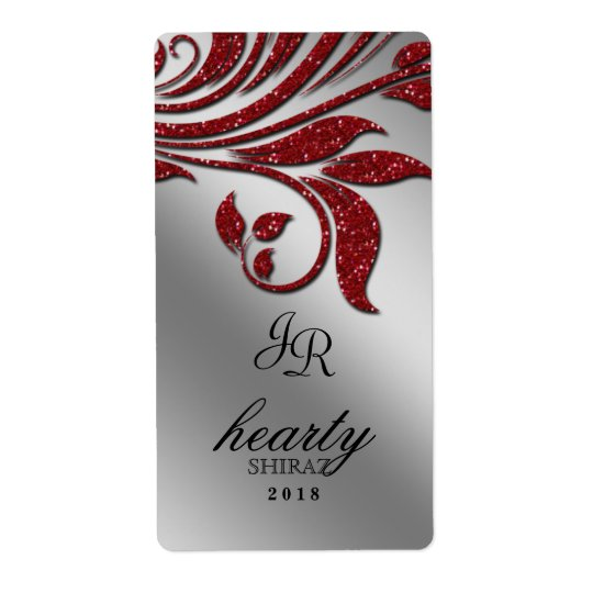 Leaf Wedding Wine Label Sparkle Red Silver Shipping Label
