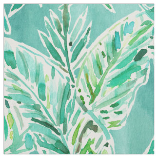 LEAFY ABUNDANCE Green Banana Leaf Print Fabric