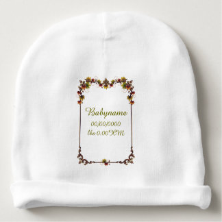 Leafy Autumn Text Frame Personalized Baby Beanie