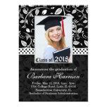 Leafy black damask Graduation Announcement Photo