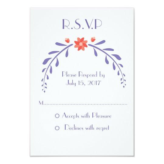Leafy Flower wedding invite -RSVP