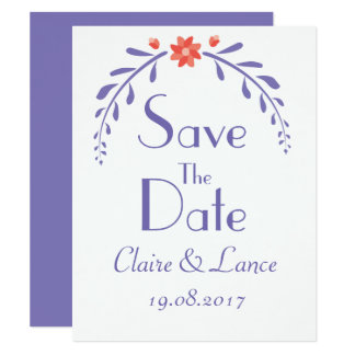 Leafy Flower wedding save the date card