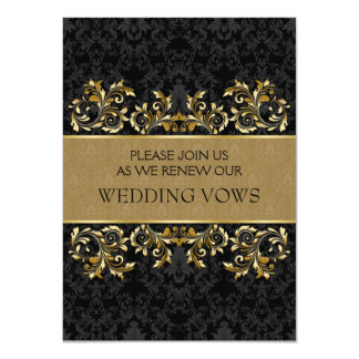 "Leafy golden swirls, black damask Vow Renewal 4.5"" X 6.25"" Invitation Card"