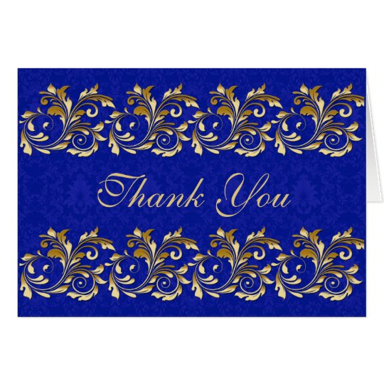 Leafy golden swirls, blue damask Thank You Card