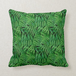 Leafy Green Ferns in a forest: Throw Pillow