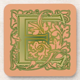 Leafy Green Letter E Monogrammed Coasters