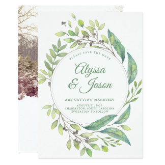 Leafy Green | Save the Date with Photo and Names Card