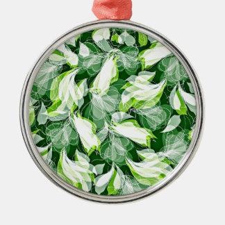Leafy Green Silver-Colored Round Ornament