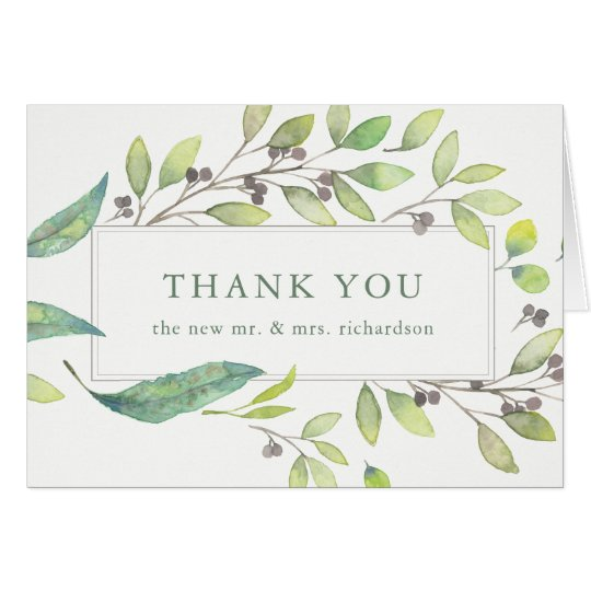 Leafy Green | Trendy Watercolor Frame Thank You Card