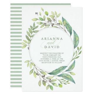Leafy Green | Trendy Watercolor Frame Wedding Card