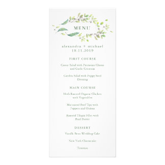 Leafy Green | Trendy Watercolor Frame Wedding Menu