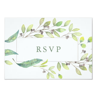 Leafy Green | Trendy Watercolor Frame Wedding RSVP Card