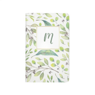 Leafy Green Trendy Watercolor Pattern | Monogram Journal
