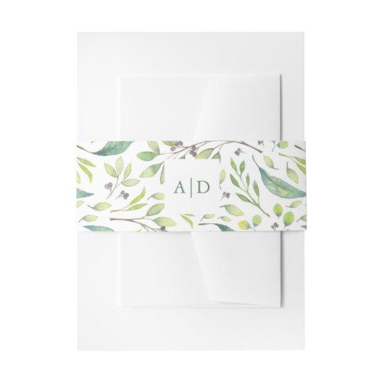Leafy Green | Trendy Watercolor Wedding Monograms Invitation Belly Band