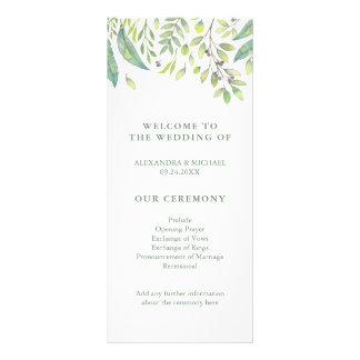 Leafy Green | Trendy Watercolor Wedding Program