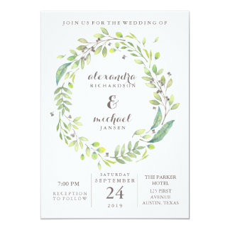 Leafy Green | Trendy Watercolor Wreath Wedding Card