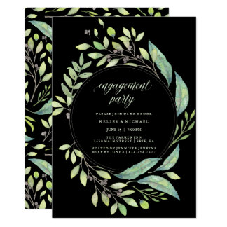 Leafy Green Watercolor | Black Engagement Party Card