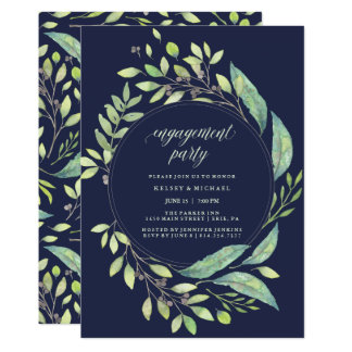 Leafy Green Watercolor Dark Blue Engagement Party Card
