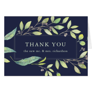 Leafy Green Watercolor | Midnight Blue Thank You Card