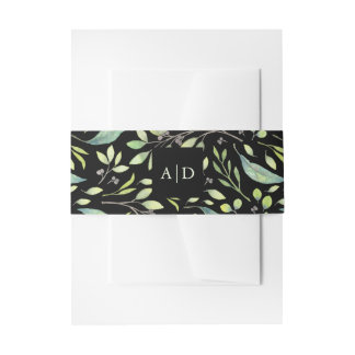 Leafy Green Watercolor | Wedding Monogram on Black Invitation Belly Band