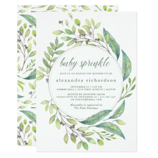 Leafy Green | Watercolor Wreath Baby Sprinkle Card