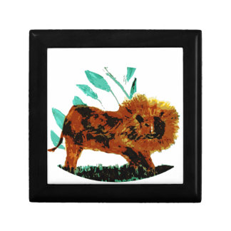 Leafy Lion Wild Animal illustration Jewelry Box