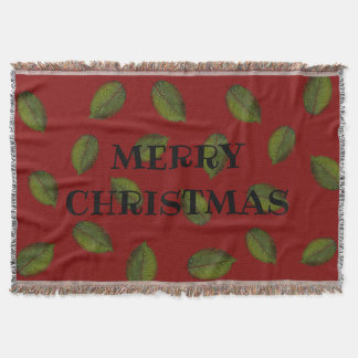 "Leafy, ""MERRY CHRISTMAS"" Red Throw Blanket"