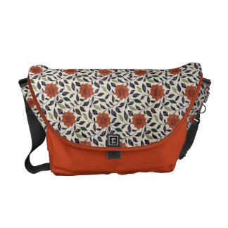 Leafy Orange Floral Courier Bags