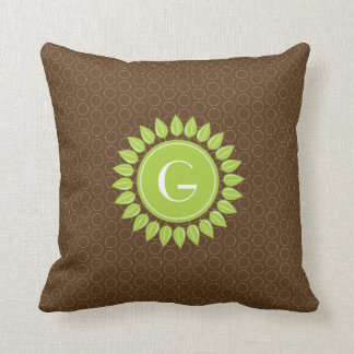 Leafy personalized monogram with circle background throw pillow