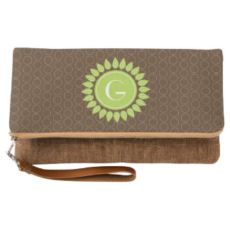 Leafy personalized monogram with circles clutch