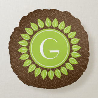 Leafy personalized monogram with circles round pillow