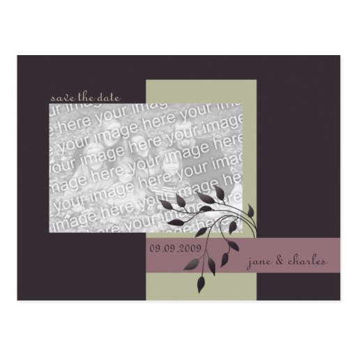 Leafy Plum & Rosy Brown Photo Save the Date Post Cards