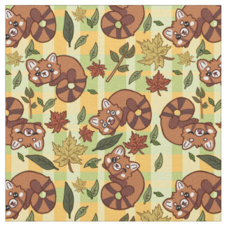 Leafy Red Panda Fabric