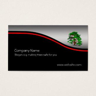 Leafy Tree, red swoosh, metallic-effect Business Card