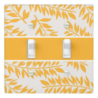 Leafy Tropical Fonds in Golden Yellow on White Light Switch Cover