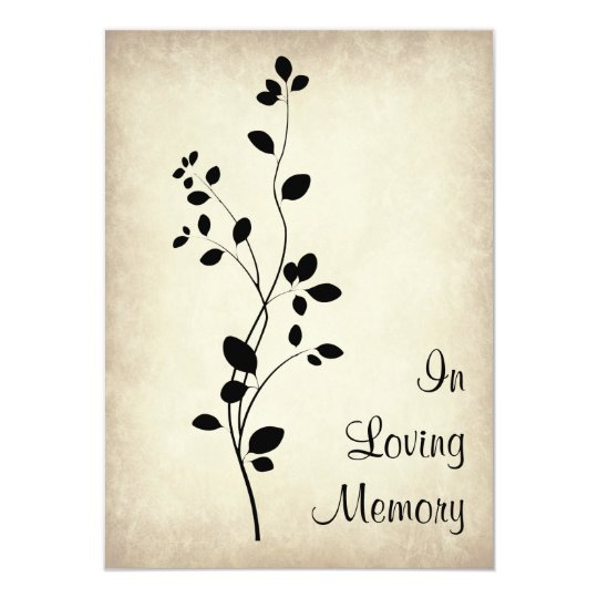 Leafy Vine Design Funeral Memorial Announcement