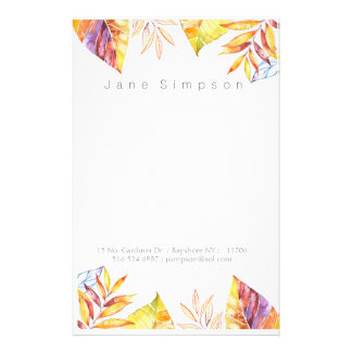 leafy watercolor personal stationary stationery