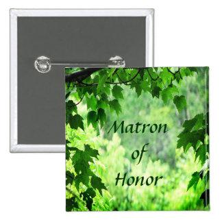 Leafy Wedding Matron of Honour Pin