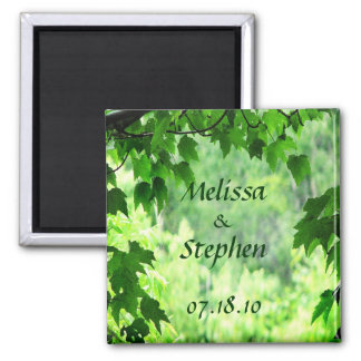 Leafy Wedding Save the Date Square Magnet