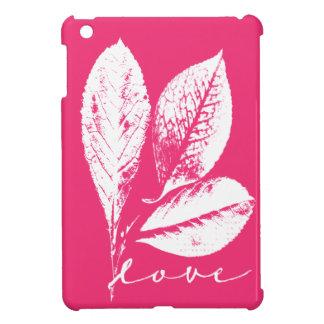 Leafy Woodcut Love in Raspberry Pink iPad Mini Cover